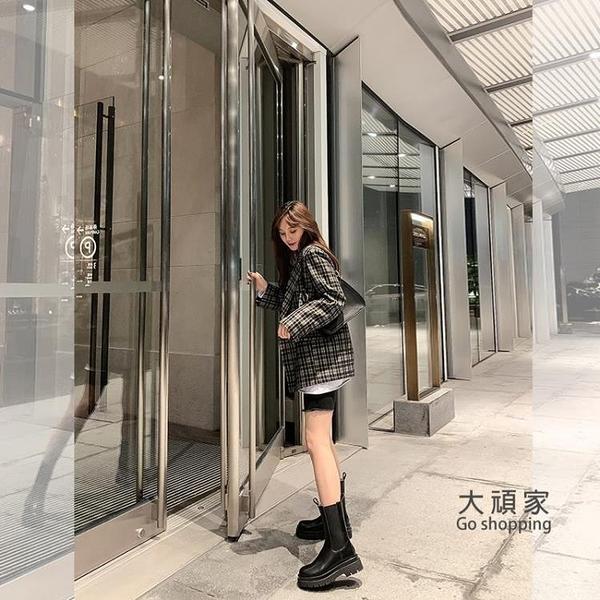 馬丁靴 大叔家鞋子女新款切爾西短靴中筒靴厚底英倫風顯瘦馬丁靴女 限時優惠