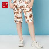 JJLKIDS 男童 海灘小王子椰子樹印花休閒短褲(海棠橙)