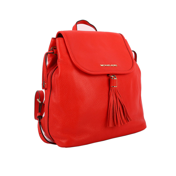 【MICHAEL KORS】素面皮革流蘇後背包(紅色)35S7GMAB7L SIENNA