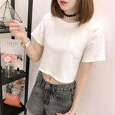 露臍短袖女夏短款t恤漏肚臍寬鬆高腰上衣短裝半袖體恤小衫 免運
