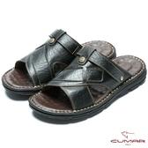 CUMAR 嚴選真皮 舒適觸感氣墊涼拖鞋黑色