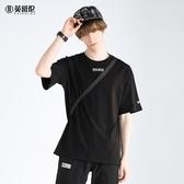 短袖T恤男士新款男裝衣服字母印花圓領寬鬆半袖上衣 潮流館