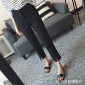 西裝褲 黑色褲子女顯瘦黑高腰韓版寬鬆小西裝褲九分褲休閒百搭直筒褲    琉璃美衣