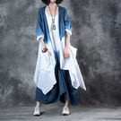 漸進色寬鬆亞麻兩件套洋裝/設計家之藍天白...