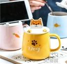 手機架馬克杯帶蓋勺創意個性潮流可愛卡通陶瓷杯子家用辦公室水杯 3C優購