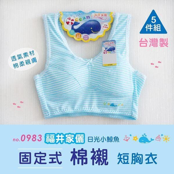 【福星】日光小鯨魚短版寬肩條紋少女學生成長胸衣/ 台灣製 / 5件任搭組 / 0983
