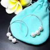 耳環 925純銀珍珠-優雅C型生日情人節禮物女飾品73ia24【時尚巴黎】