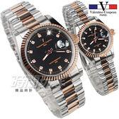 valentino coupeau范倫鐵諾 古柏 風尚晶鑽時刻指針錶 對錶 黑面x半玫瑰金 F12169TR黑大+F12169TR黑小