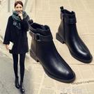靴子女短靴年新款百搭秋款小跟平底秋冬季女鞋瘦瘦加絨馬丁靴 卡布奇诺