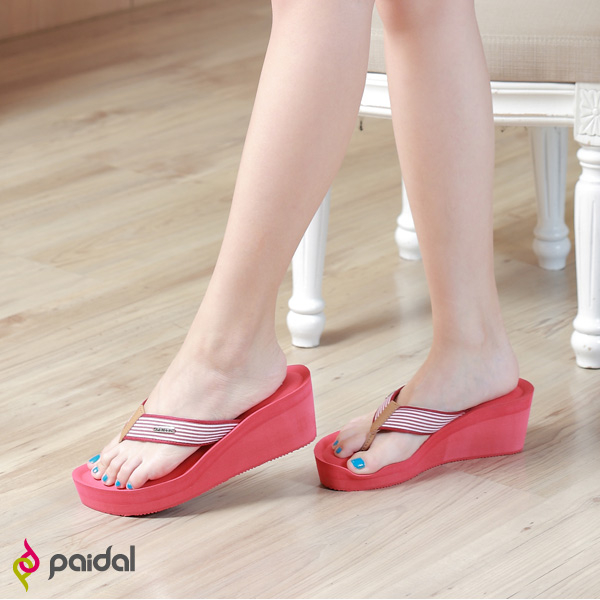 Paidal 時尚條紋膨膨氣墊美型厚底拖鞋涼鞋-紅