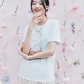 T恤 珍珠印花質感短袖T恤UF0352-創翊韓都