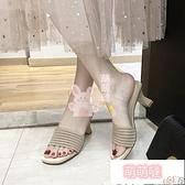 高跟拖鞋 拖鞋女外穿夏季時尚韓版百搭露趾粗跟一字高跟涼拖鞋【萌萌噠】