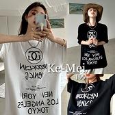 克妹Ke-Mei【AT65858】BOOKLYN採購自訂小香風字母寬鬆純棉長版T恤