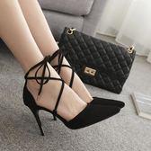 高跟鞋性感交叉綁帶尖頭高跟鞋女百搭淺口細跟單鞋系帶羅馬女鞋