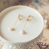耳環 韓國直送‧垂墜珍珠水鑽夾式耳環-Ruby s 露比午茶