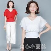 襯衫 2021夏季新款百搭荷葉邊高腰純色襯衫上衣女士蝴蝶結襯衣 16育心