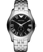 Emporio Armani 亞曼尼 羅馬時尚小秒針手錶-黑/銀 AR1706