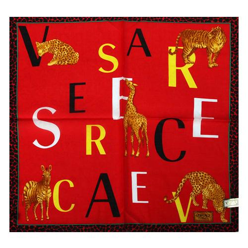 VERSACE 凡賽斯 字母 非洲草原動物 豹紋飾邊帕巾(紅色)989017-21