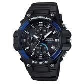 【CASIO】全新進化大錶面三眼三圈指針運動錶-藍圈(MCW-110H-2A)