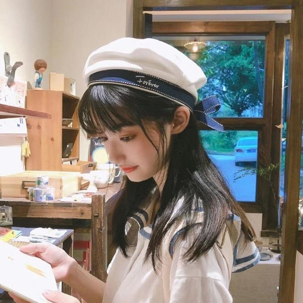 貝雷帽 日系甜美可愛蝴蝶結長帶子貝雷帽子女韓版休閑百搭刺繡字母畫家帽