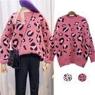 VK精品服飾 韓系可愛甜美豹紋毛茸茸長袖上衣