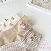 三雙裝 中筒襪子韓國春季格子學院風甜美襪子【少女顏究院】