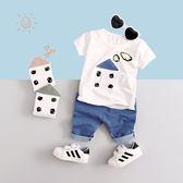 男童短袖套裝夏裝女童童裝兒童寶寶嬰兒3衣服1歲2小童5夏季4嬰兒0【居享優品】