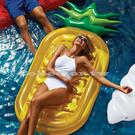 雙色葉鳳梨水上浮床 坐式泳圈 水上充氣浮床 游泳圈座墊