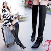 過膝靴 女靴子冬季新款時尚瘦瘦過膝長靴絨面尖頭細跟超高跟性感皮靴