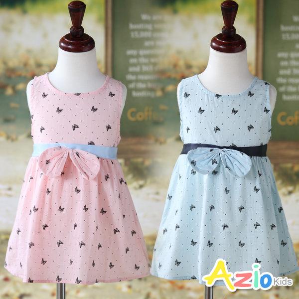 Azio 女童 洋裝 點點蝴蝶綁帶無袖洋裝(共2色)