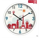 小鄧子歐式創意現代大掛鐘 客廳個性鐘錶 臥室超靜音掛錶U43(14英寸)