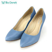【Bo Derek 】美型側邊波浪高跟鞋-藍色