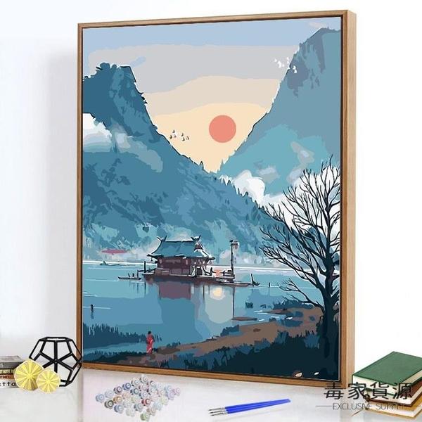 數字油畫diy手繪填色畫臥室動漫涂色油彩裝飾畫【毒家貨源】