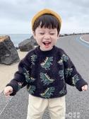 寶寶冬裝恐龍秋冬款兒童加厚洋氣2020新款韓版男童毛衣套頭水貂絨  (pink Q時尚女裝)
