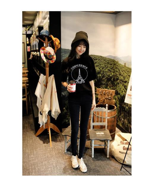 (全館免運) - 韓版經典百搭寬鬆鐵塔短袖T恤女(T-0582)均碼