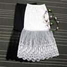 襯裙高腰半身裙春秋新款中長款大碼包臀網紗襯裙女內搭黑色蕾絲打底裙 韓國時尚週