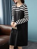 洋裝 大碼連身裙秋季韓版條紋拼接連帽直筒長袖連身裙女NB11快時尚