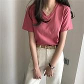 夏季2021新款韓版學生洋氣休閒基礎款上衣短袖V領T恤港風ins女裝 【端午節特惠】