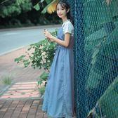 牛仔洋裝 夏季新款牛仔背帶裙子學生韓版春小清新森女洋裝長裙女森繫 coco衣巷
