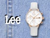 【時間道】LEE 時尚經典三眼計時皮帶腕錶 /白面白皮 (LEF-F115DRL7-7S)免運費