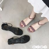 涼鞋 南在南方一字扣絨面中跟鞋子女夏季優雅方跟涼鞋女粗跟【全館9折】