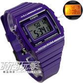 CASIO卡西歐W-215H-6A方形數字錶 電子錶 碼錶 鬧鈴 43mm 防水50M 紫色 W-215H-6AVDF