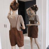 背帶褲套裝女夏季寬鬆韓國直筒學生條紋短袖t恤 短褲吊帶褲兩件套【無趣工社】