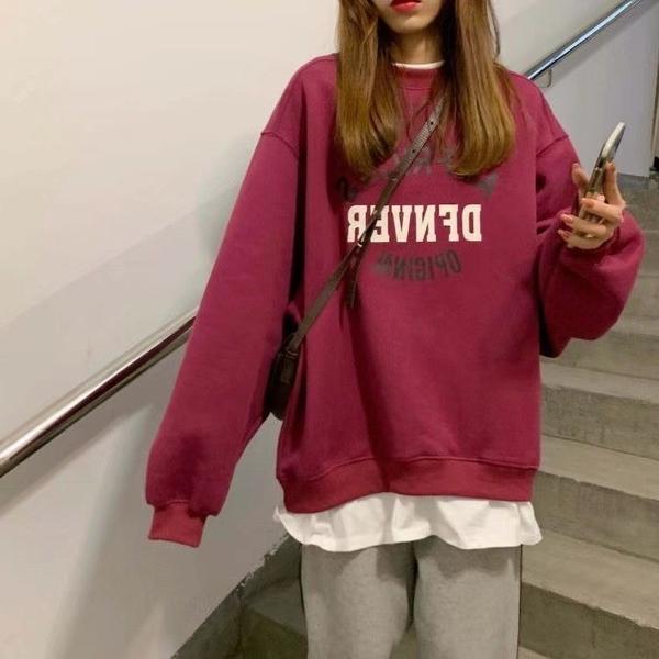 加絨加厚衛衣女秋冬季假兩件外套學生寬鬆韓版炸街百搭上衣ins潮