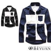 襯衫【JN3806】OBI YUAN韓版配色拼接長袖襯衫共2色