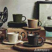 咖啡杯 玩物志日式單品咖啡杯帶碟 粗陶條紋 咖啡店專業器具 純手工制作 酷斯特數位3C