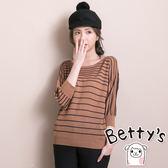 betty's貝蒂思 復古色條紋針織衫(咖啡色)