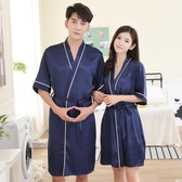夏季男女日式和服睡衣薄款冰絲綢情侶睡袍兩件套春秋性感浴袍浴衣Mandyc