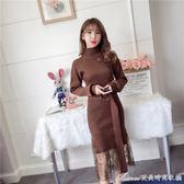 長洋裝秋冬新款韓版chi風寬鬆大碼女裝針織洋裝蕾絲拼接假兩件半高領   艾美時尚衣櫥