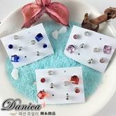 耳環 現貨 氣質甜美迷你 水立方 水晶 金球 水鑽超值 8件組耳環(3色) S91138 Danica韓系飾品 韓國連線